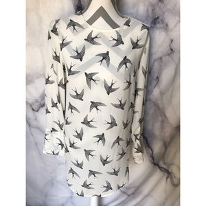 H&M white Tunic bird blouse sz 8 M